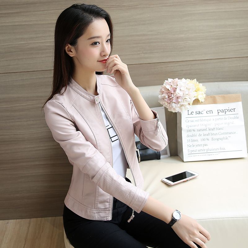 2019春秋新款韩版修身显瘦PU机车皮夹克高腰chic小皮衣女港风外套