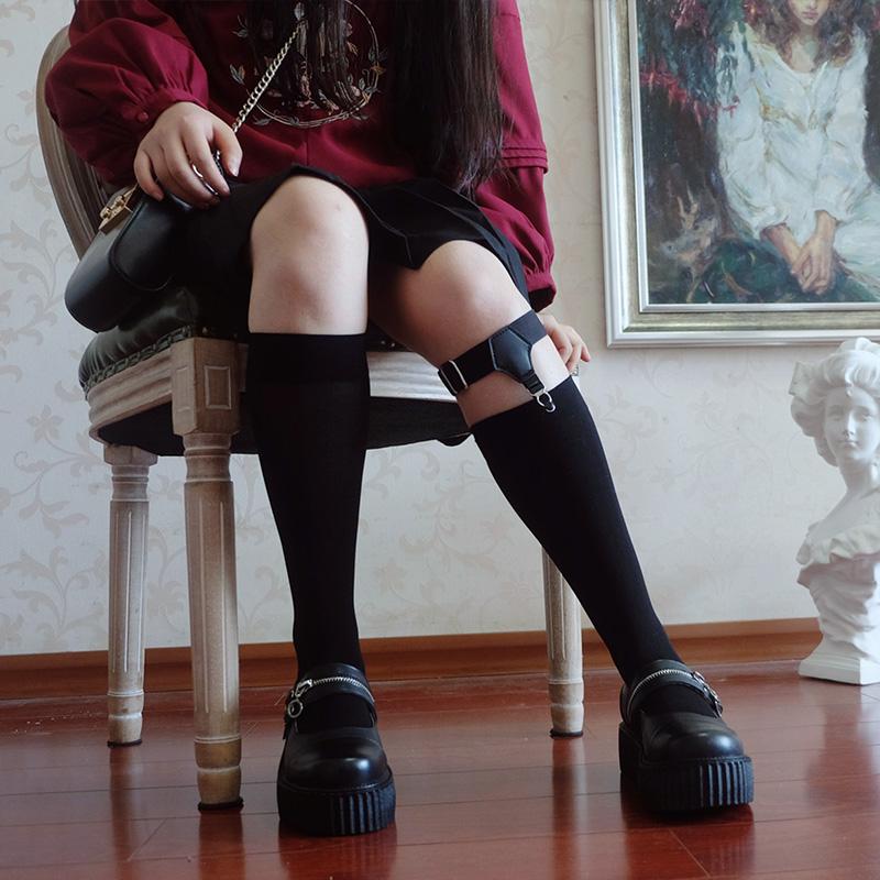 時光裡的店日系學院軟Lolita鞋鬆糕厚底鞋原宿圓頭拉鍊拼接娃娃鞋