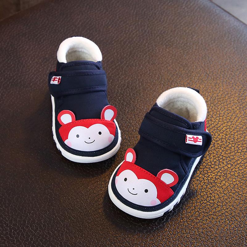 女宝宝学步鞋0-1-3岁2男宝宝鞋子秋冬加绒棉鞋叫叫鞋软底婴儿布鞋