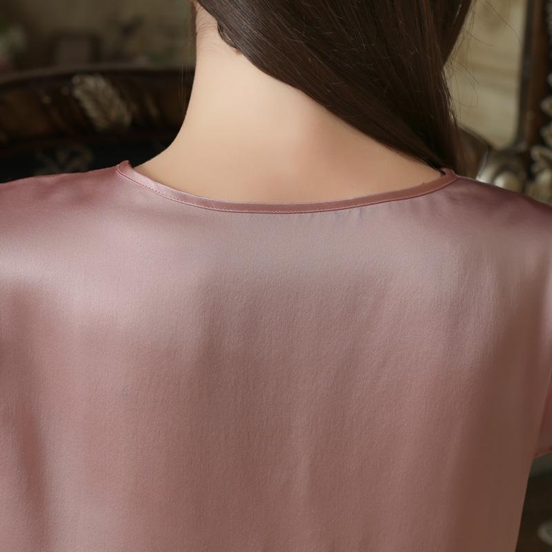 花梦儿100%真丝睡裙女夏季短袖真丝睡衣性感桑蚕丝蕾丝家居服薄款