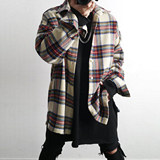 NFG High Street 19 autumn and winter retro plaid hip hop oversize woolen coat shirt jacket jacket ins