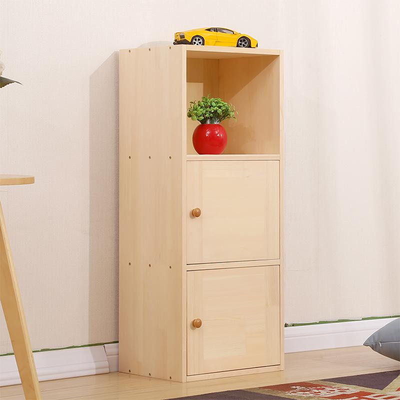 儿童实木书柜储物柜松木书架自由组合收纳柜子书橱带门简易书柜