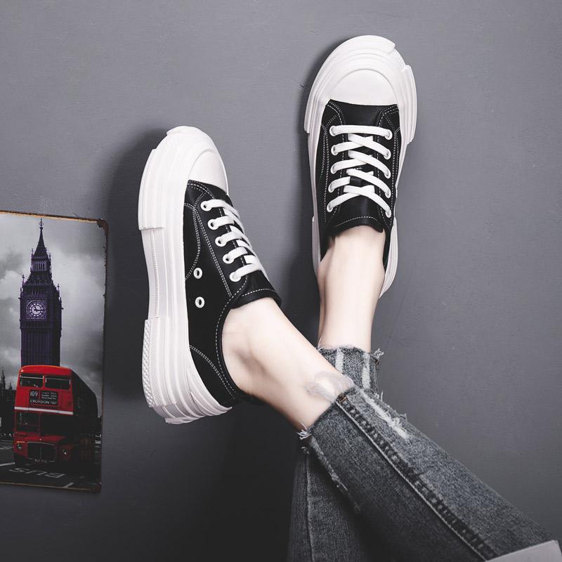 春秋新款韩版基础百搭平底学生洋气休闲厚底板鞋 2020 真皮小白鞋女