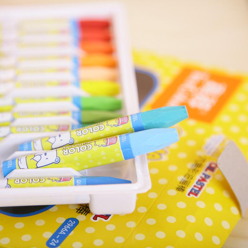 真彩24色油画棒包邮儿童蜡笔无毒酷丫24色黄盒油画棒画笔2966A-24