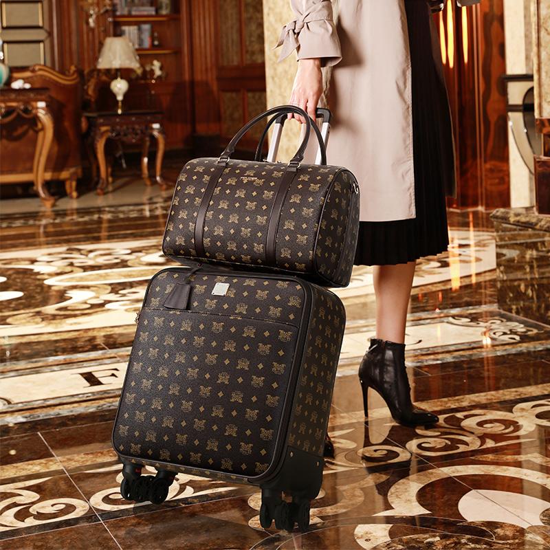旅游箱包大容量复古拉杆箱手拉箱 旅游行李箱女小 女士旅行箱轻便