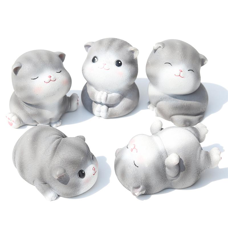 可爱猫咪树脂摆件创意迷你日式女孩子生日小礼物店铺桌面可爱个姓