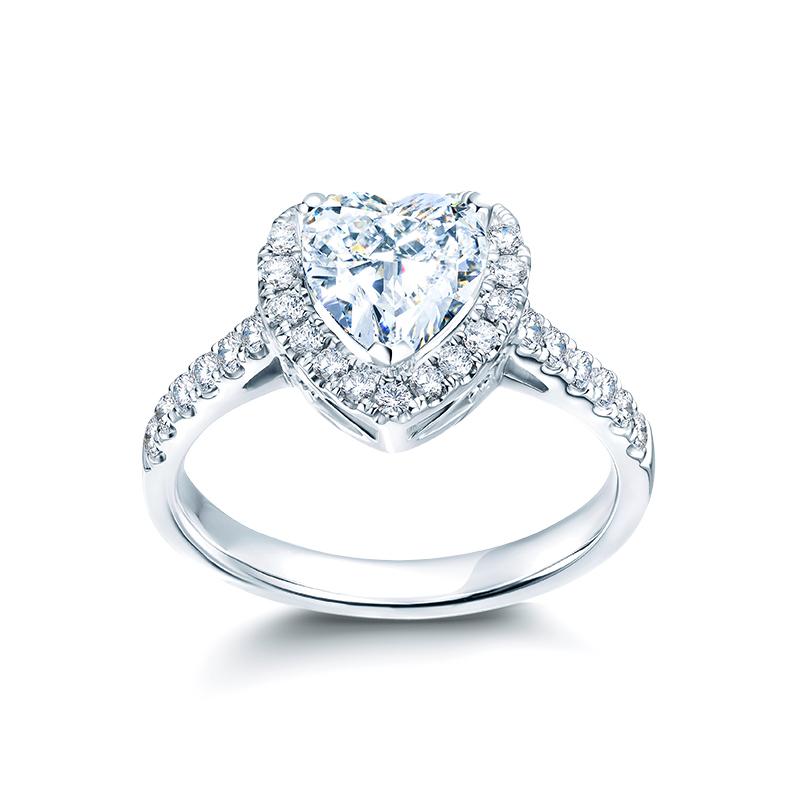 现货闪发DR心形女戒群镶求婚钻石戒指白18K金一克拉钻戒正品专柜