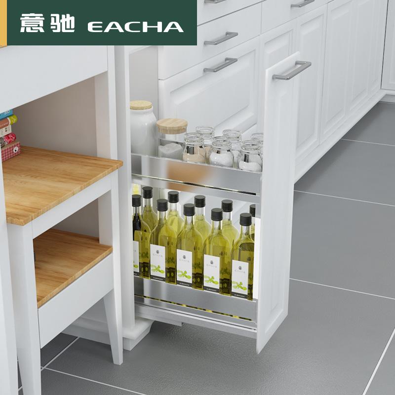 柜阻尼置物架 200 规格 150 不锈钢调味篮厨房橱柜拉篮 304 小户型 意驰