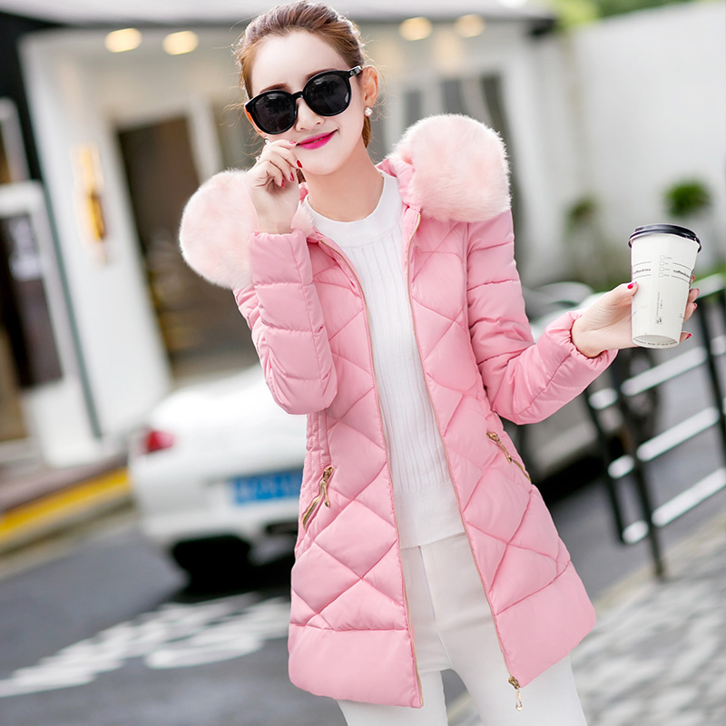LIGGFOP2018秋冬季女装棉衣女 中长款修身显瘦保暖毛领棉袄服外套