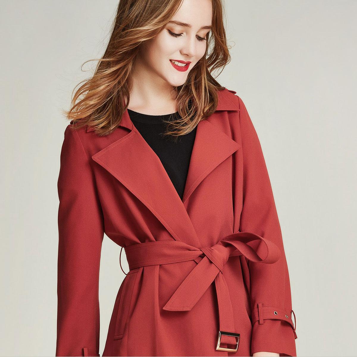 电影VA F3001  春秋风衣女中长款休闲时尚新款红色女士过膝外套潮