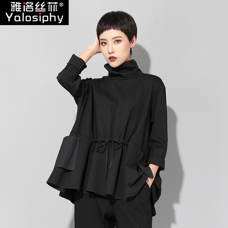 黑长袖T恤宽松中长显瘦上衣潮
