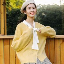 韩版百搭慵懒风甜美针织开衫外套女