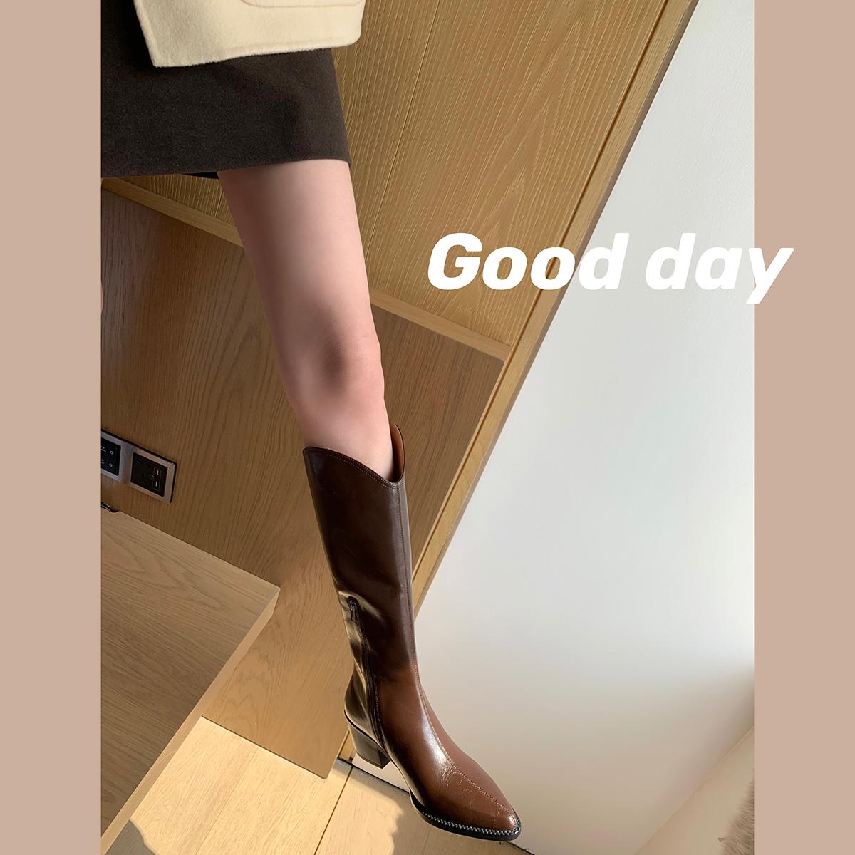 西部牛仔靴女真皮厚底高筒尖头白色骑士长筒靴子 studiolee 葡萄妈