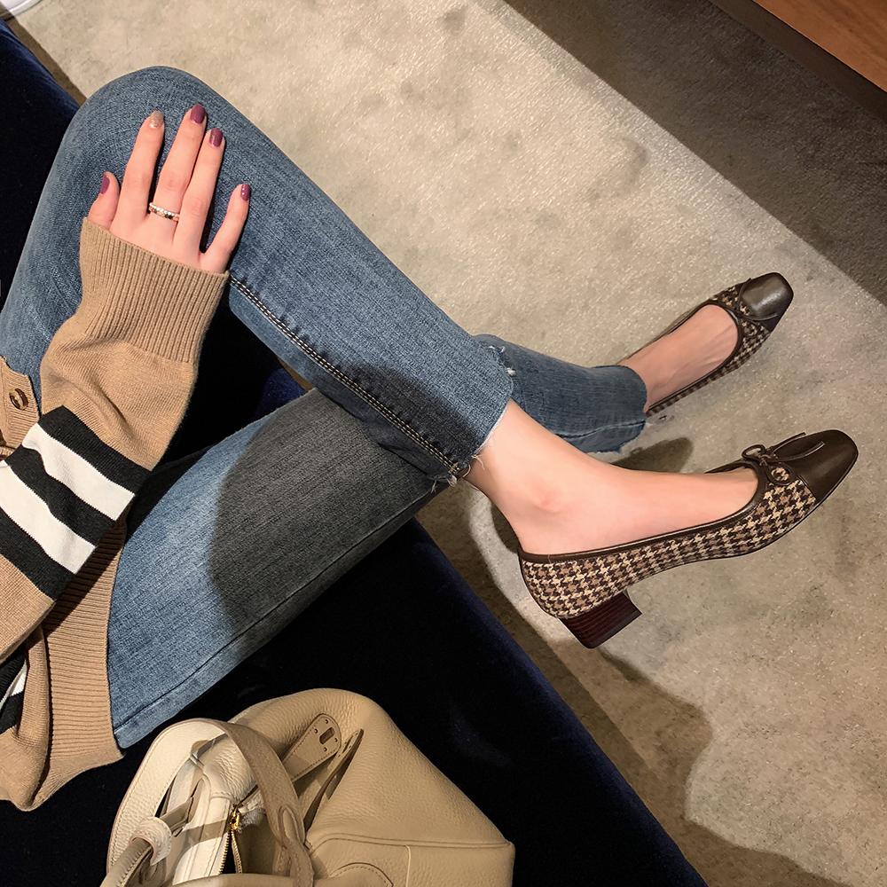 小香风方头粗跟芭蕾鞋女浅口小高跟蝴蝶结单鞋 studiolee 葡萄妈
