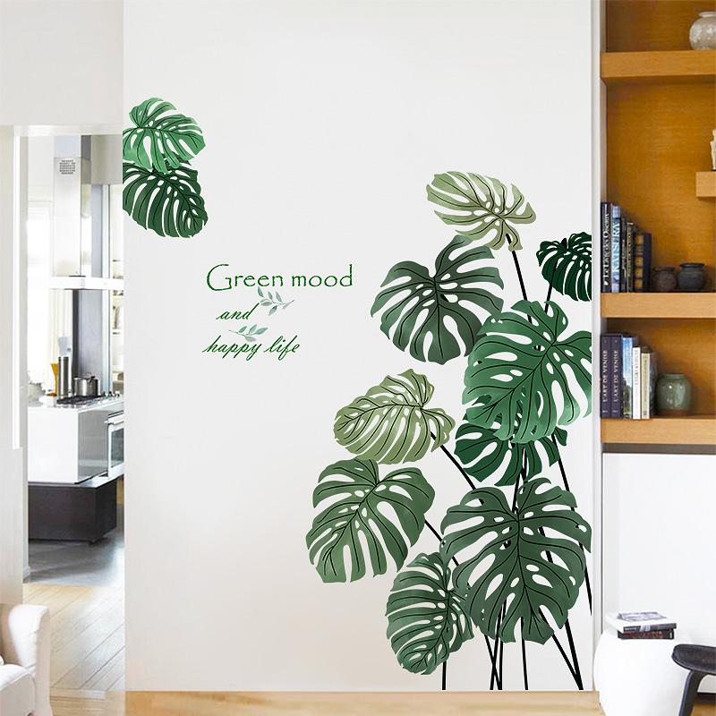 植物贴纸墙贴画客厅玄关墙壁装饰房间自粘墙纸 ins 龟背竹创意个姓