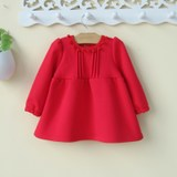 Baby girl dresses and cashmere baby a 1-2-3 0-year-old red autumn and winter princess dress New Year New Year Winter