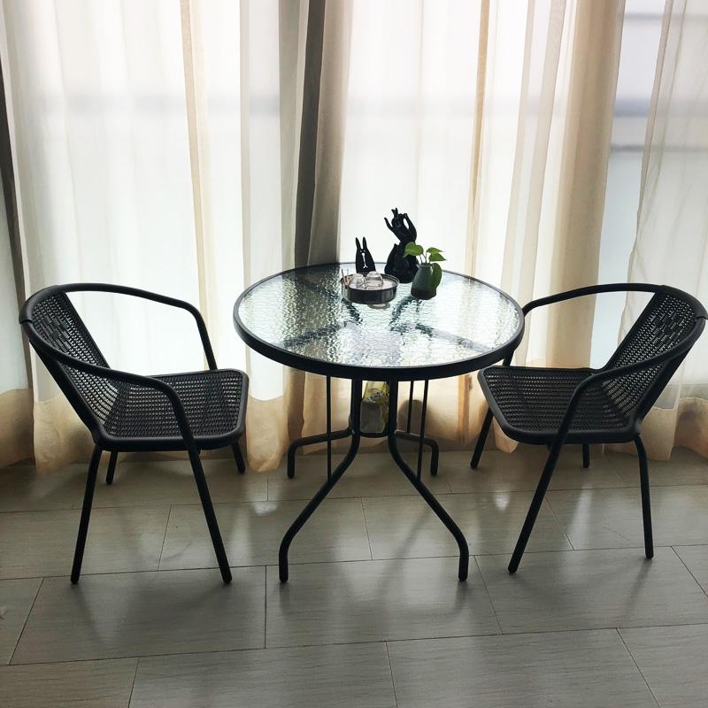 阳台小桌椅户外庭院露台休闲小茶几铁艺小圆桌椅组合藤椅三件套