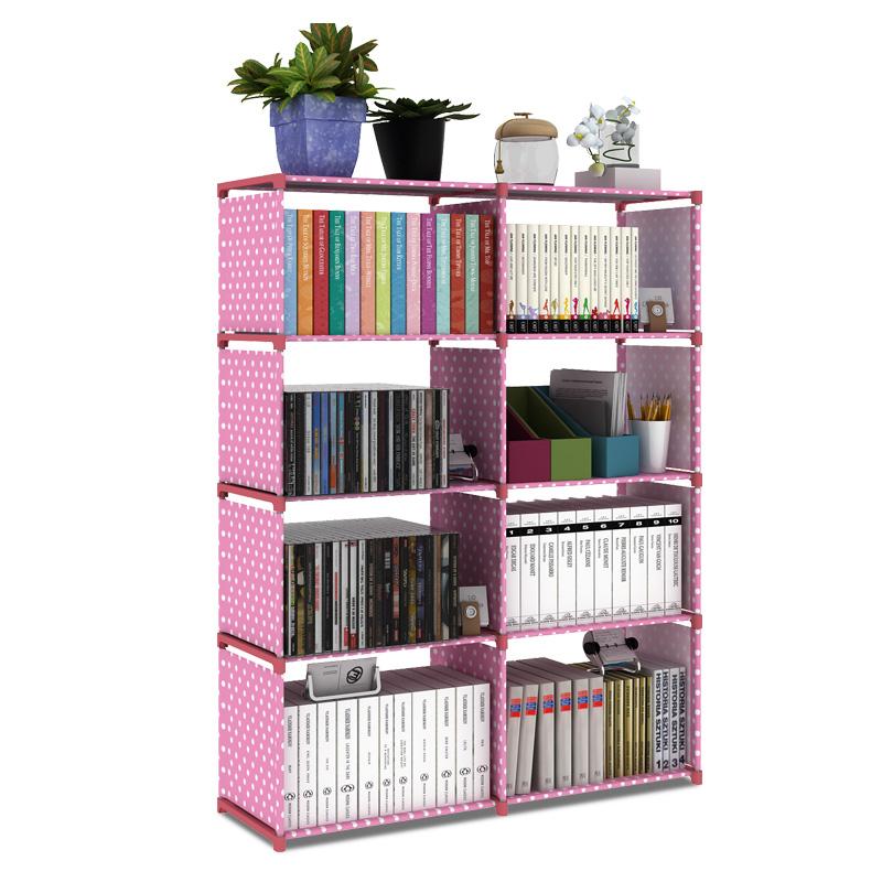 开迪双排书架组合加固落地置物架创意儿童书柜时尚简易收纳架