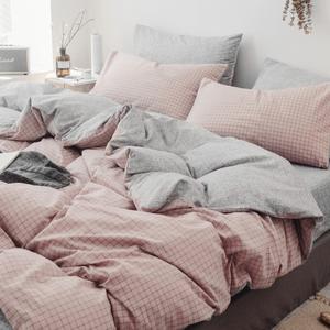 网红款全棉四件套纯棉水洗棉被套宿舍床单人三件套北欧风床上用品