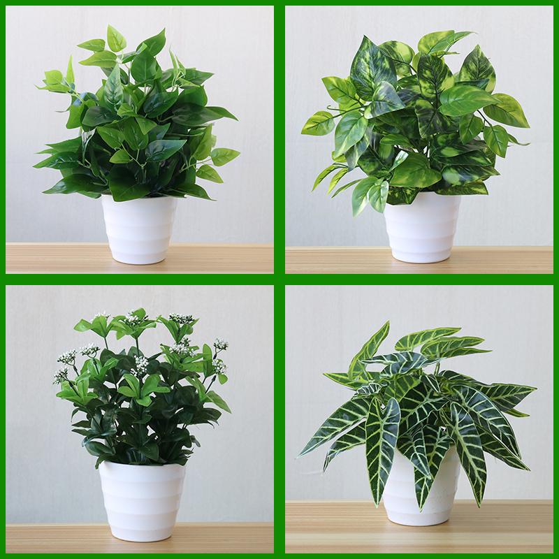 仿真绿植物室内外装饰塑料假绿萝小盆栽仿真花草植物红掌假花摆设