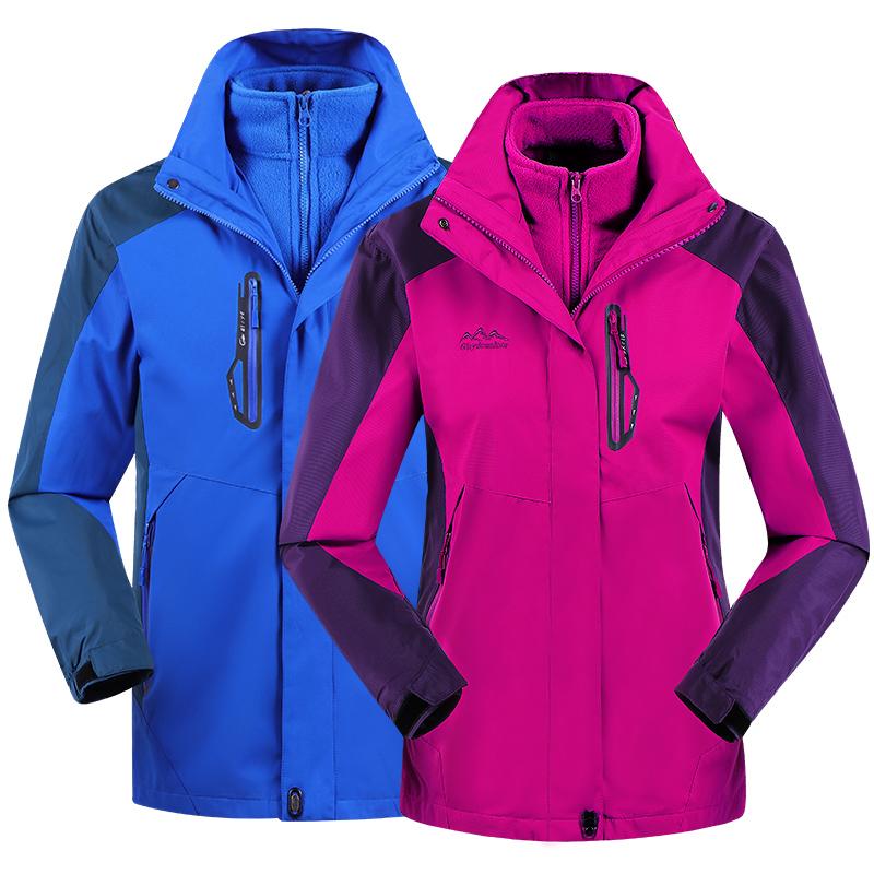 户外冲锋衣男女潮牌三合一加绒加厚可拆卸两件套冬季登山服防风衣