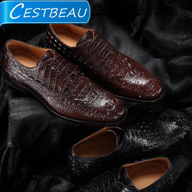 进口鳄鱼皮皮鞋男士固特异工艺真皮正品圆头商务正装青年 cestbeau