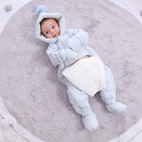 Down baby coveralls thick winter clothes newborn baby hold out clothes warm clothing plus velvet clothes climb
