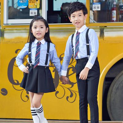元旦儿童演出服装男女表演校服套装小学生大合唱幼儿园朗诵背带裤
