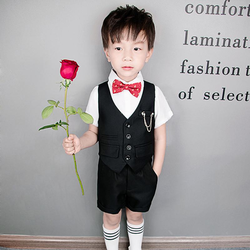 花童礼服男童短袖西装套装夏季儿童小主持人演出服装背带裤英伦风
