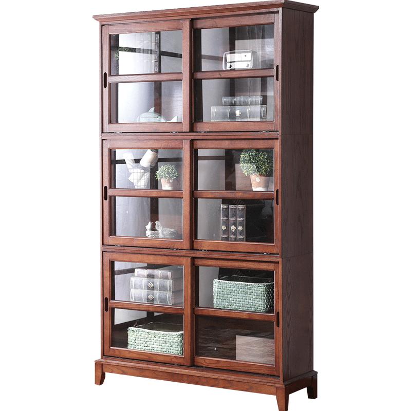 开尚 美式乡村书柜书架复古储物柜带玻璃门简约大储物多功能柜子