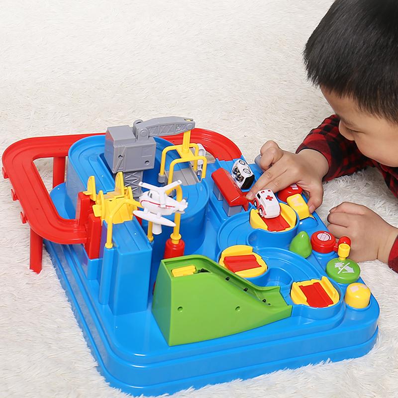 儿童益智力动脑汽车闯关大冒险抖音同款电动男孩小火车玩具轨道车