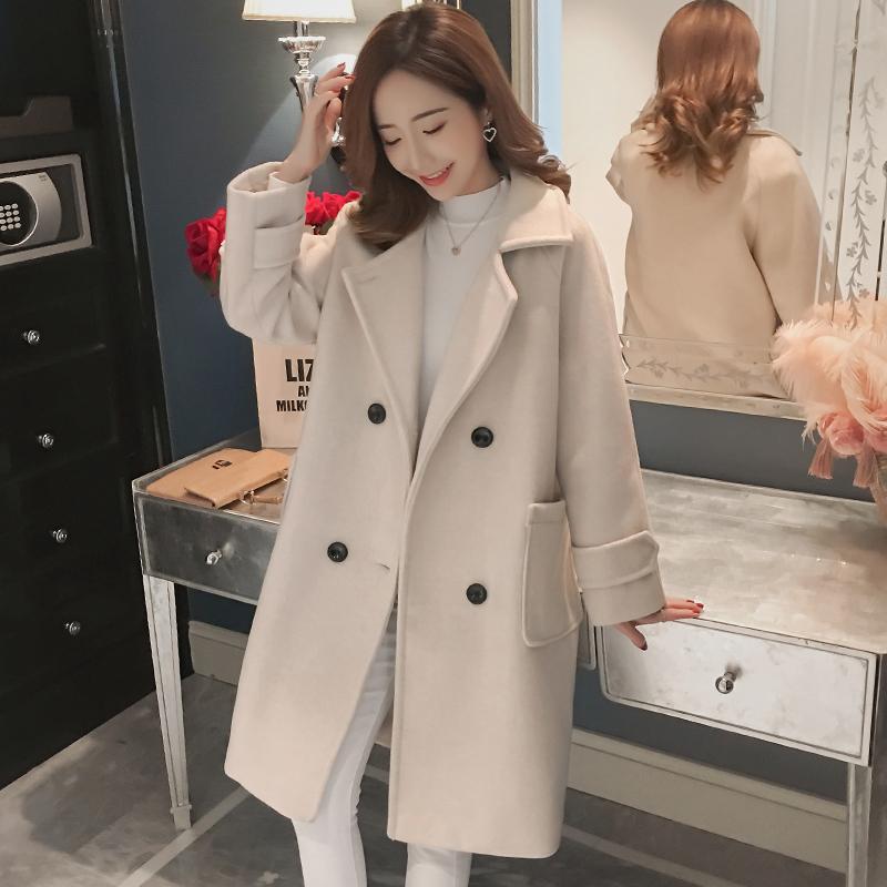 毛呢外套女中长款2020新款秋冬韩版流行赫本风显瘦百搭呢子大衣女