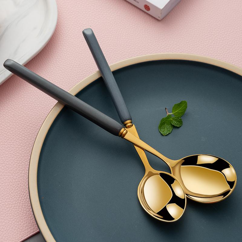 韩式勺子家用不锈钢精致长柄勺吃西瓜专用勺网红汤匙轻奢吃饭小勺