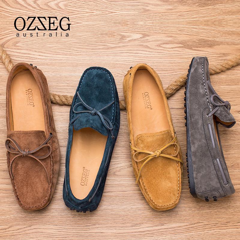 OZZEG豆豆鞋男春夏季磨砂透氣英倫套腳鞋真皮懶人鞋青年休閒皮鞋