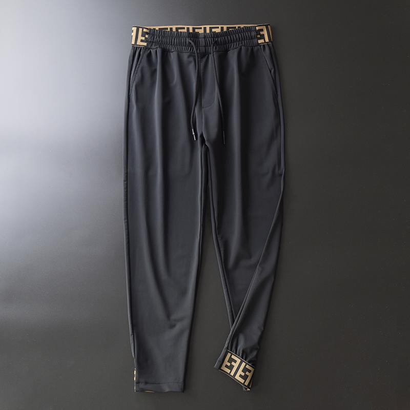 夏季轻奢冰丝男士牛奶丝潮流休闲裤