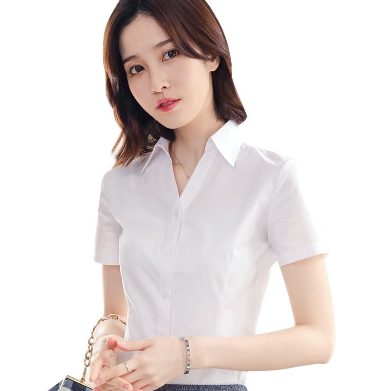 白衬衫女短袖职业2019新款韩版气质显瘦v领工装衬衣工作服正装夏