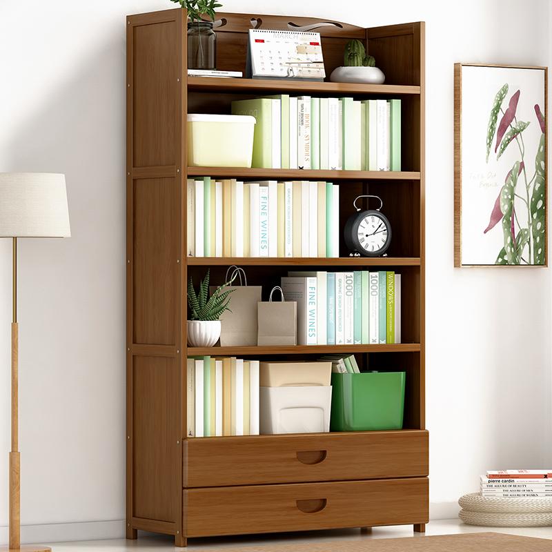 楠竹书架书柜简约现代书架落地简易书架客厅实木置物架桌上储物柜