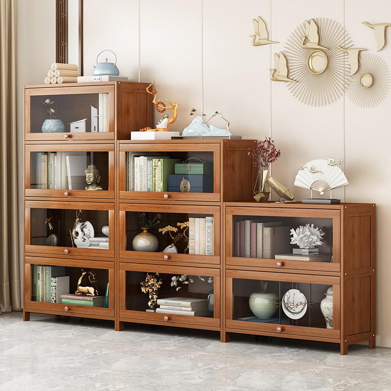 楠竹书架置物架简约现代落地家用办公卧室客厅多层储物收纳书柜
