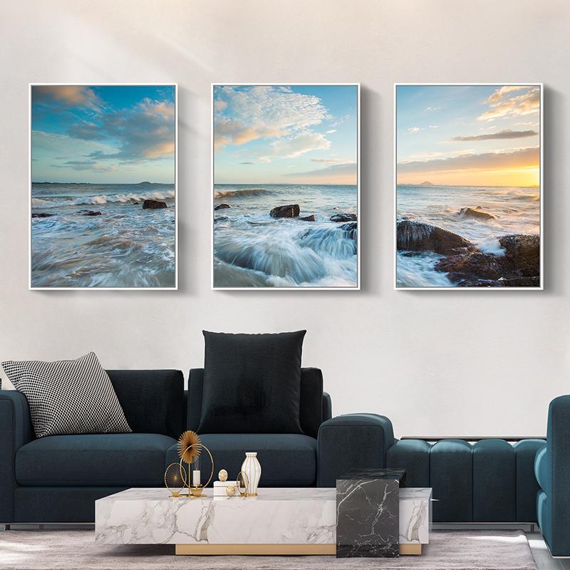 现代简约客厅风景装饰画卧室壁画沙发背景墙挂画三联画大气组合画