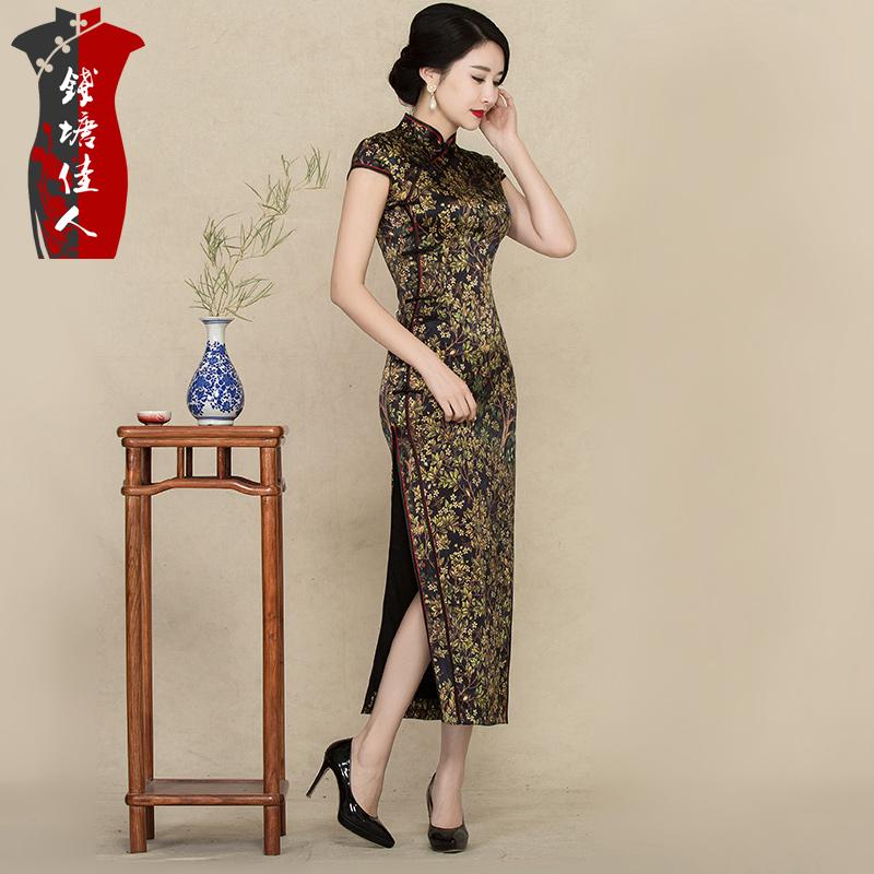 钱塘佳人春夏长款旗袍连衣裙改良复古宴会重磅真丝旗袍裙中式礼服
