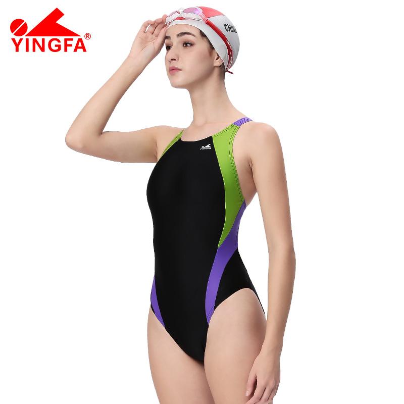 英发YINGFA专业游泳衣女 儿童成人竞赛训练泳装 连体三角泳衣速干