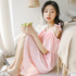 2021 new night skirt female summer one-word neck strap strapless dress sexy cotton pajamas summer home service