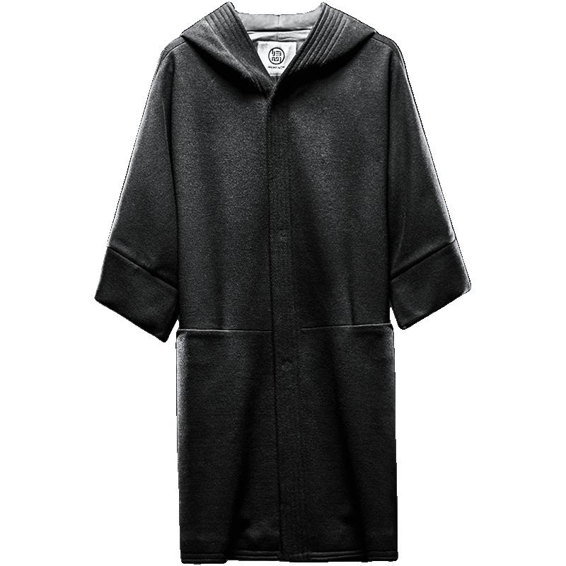 归心毛呢大衣男中长款设计师原创中国风男装羊毛呢外套男连帽中袖