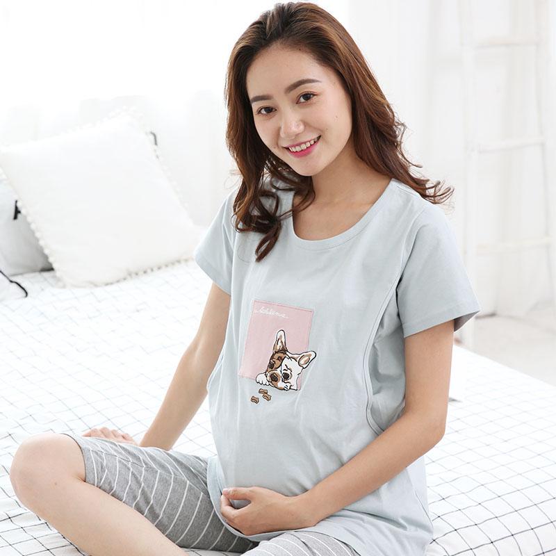 孕妇睡衣春夏薄款月子服短袖七分裤套装哺乳喂奶衣大码胖MM200斤