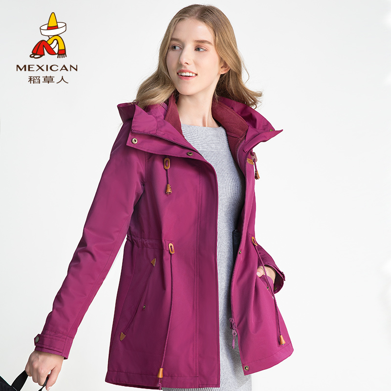 稻草人户外冲锋衣女士两件套加厚中长款外套三合一防风运动登山服