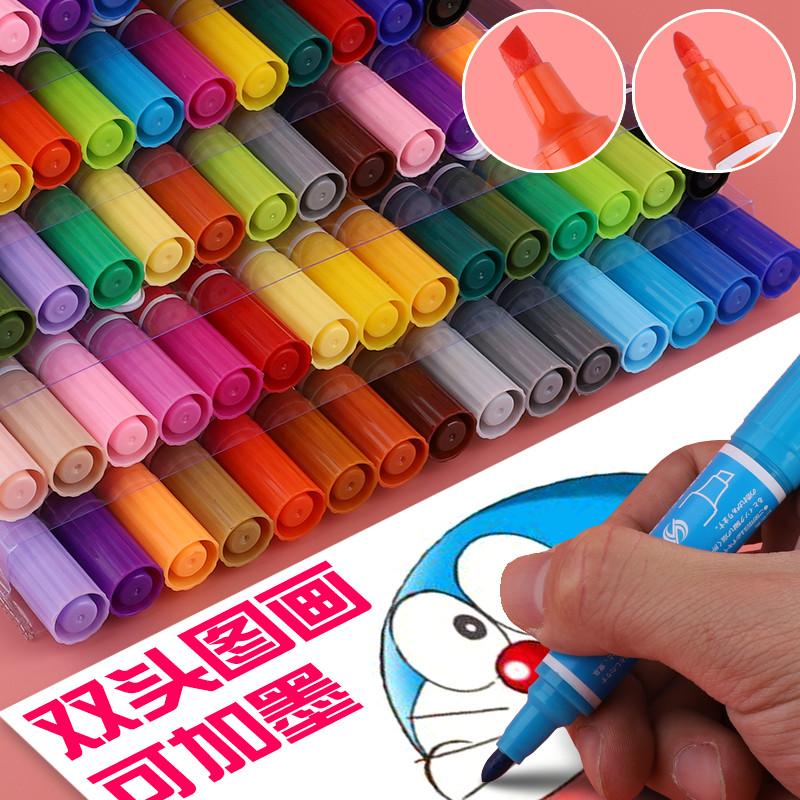 斯尼尔单支马克笔大头记号笔可加墨水黑色彩色油性大号容量双头30色小学生美术幼儿园儿童绘画水彩勾线笔