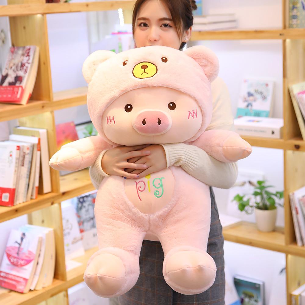 可爱小猪毛绒玩具猪猪公仔床上睡觉抱枕大号玩偶布娃娃生日礼物女