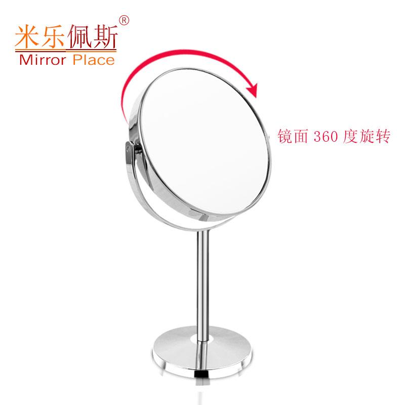 米乐佩斯书桌台式化妆镜双面高清放大金属美容镜欧式公主圆形镜子
