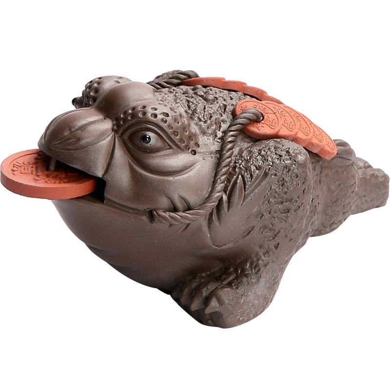 美阁紫砂茶宠貔貅招财金蟾功夫茶具配件创意摆件喷水手工茶玩茶道