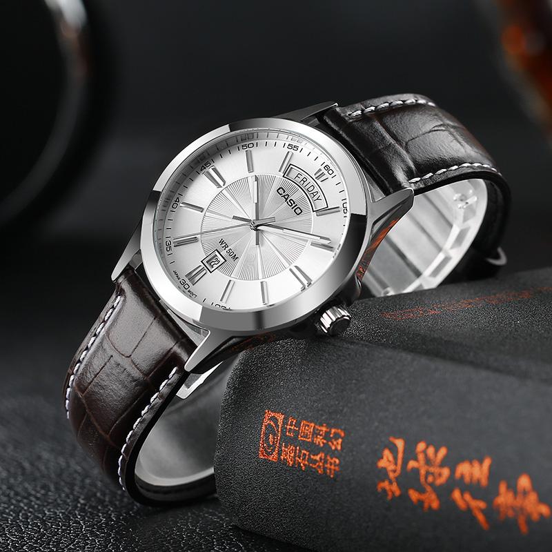 正品CASIO卡西欧手表皮带商务休闲石英男士防水腕表MTP-1381L-7A